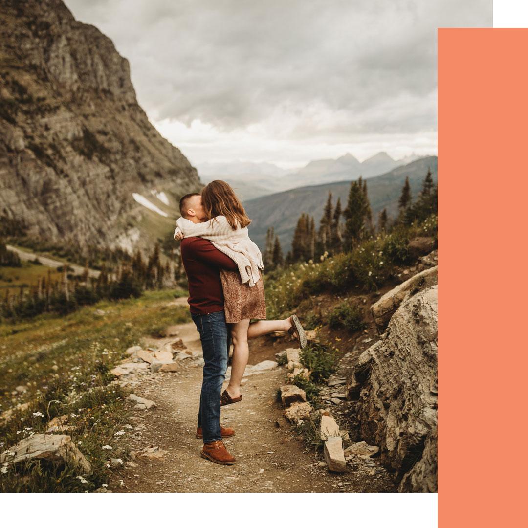 Glacier National Park couples session at Logan Pass