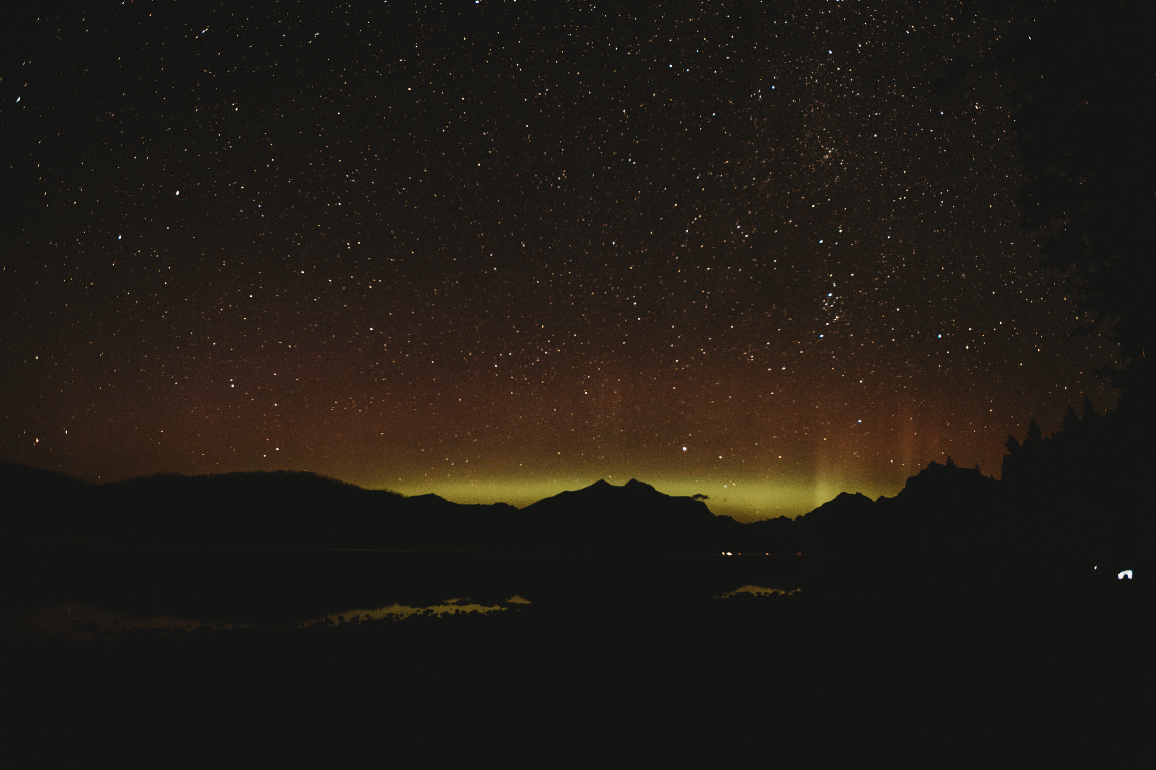 Northern Lights from the shore of Lake McDonald