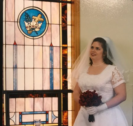 On my wedding day, thinking about how much I love Bill and pizza