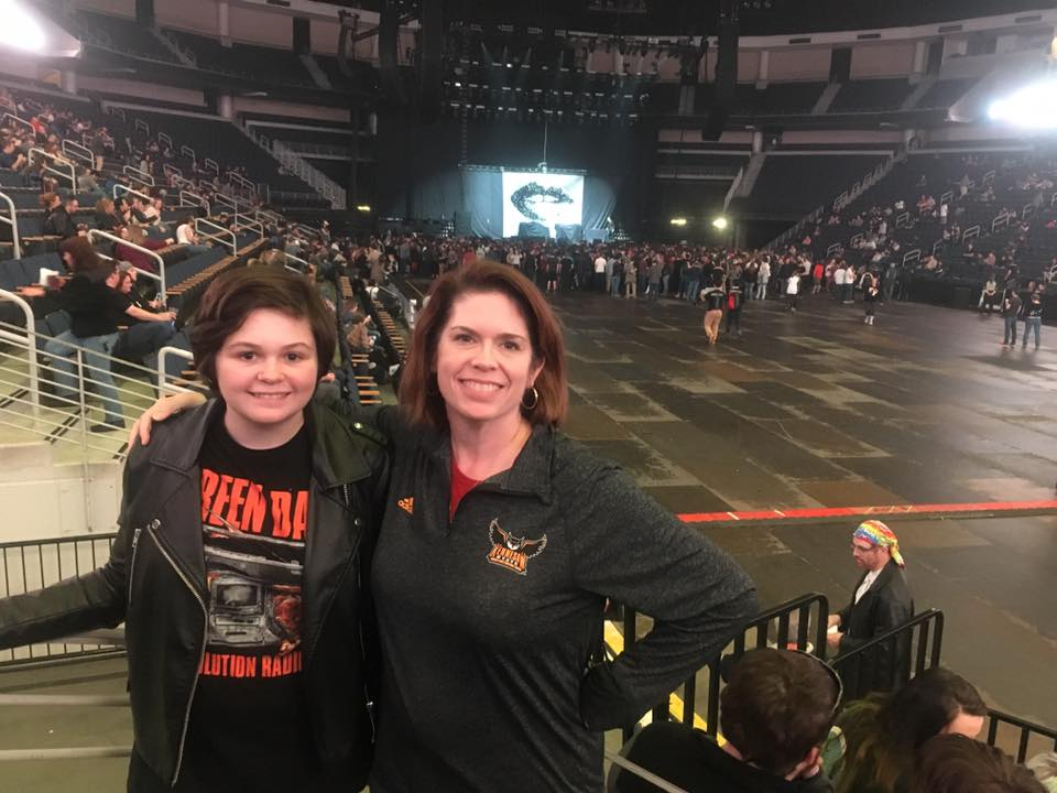 With my kid, CJ, at the Green Day concert, March 10, 2017.