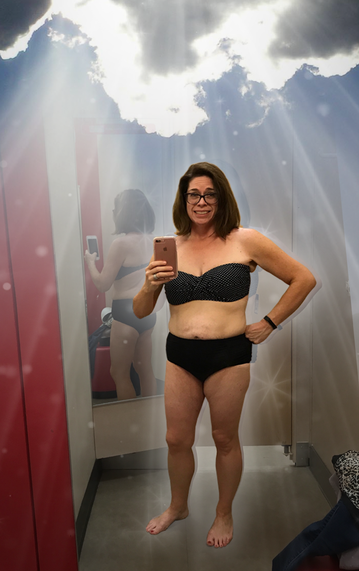 """The actual, un-photoshopped selfie from the Target dressing room. My face says """"Is this really acceptable for public consumption?"""" but my levitating body says """"24K Magic."""""""