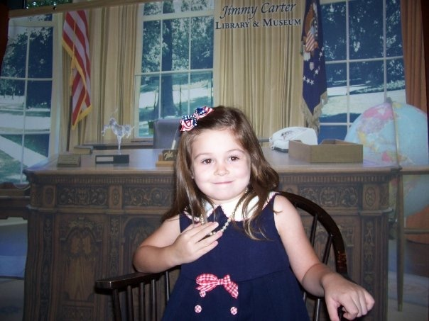Five year old CJ, then known as Carolyn, had her eyes set on the Oval Office