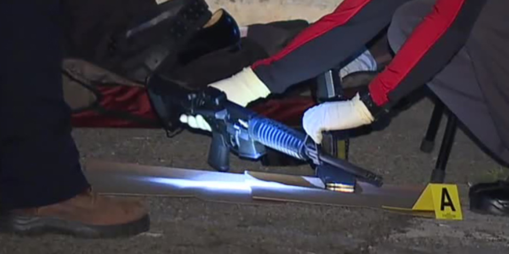 The assault rifle recovered at the scene.