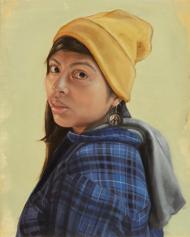 """""""Lindsey with Bottle Cap Earrings."""" 16""""x20"""". Oil on panel."""