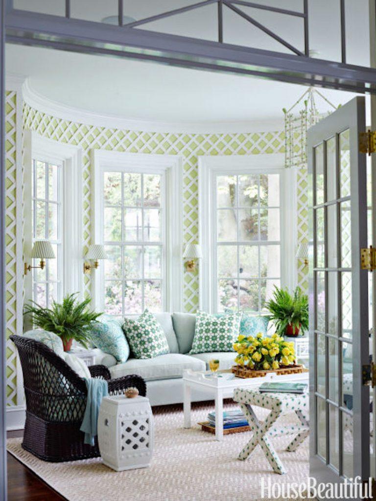 Lime green lattice rotunda sunroom,  via House Beautiful.