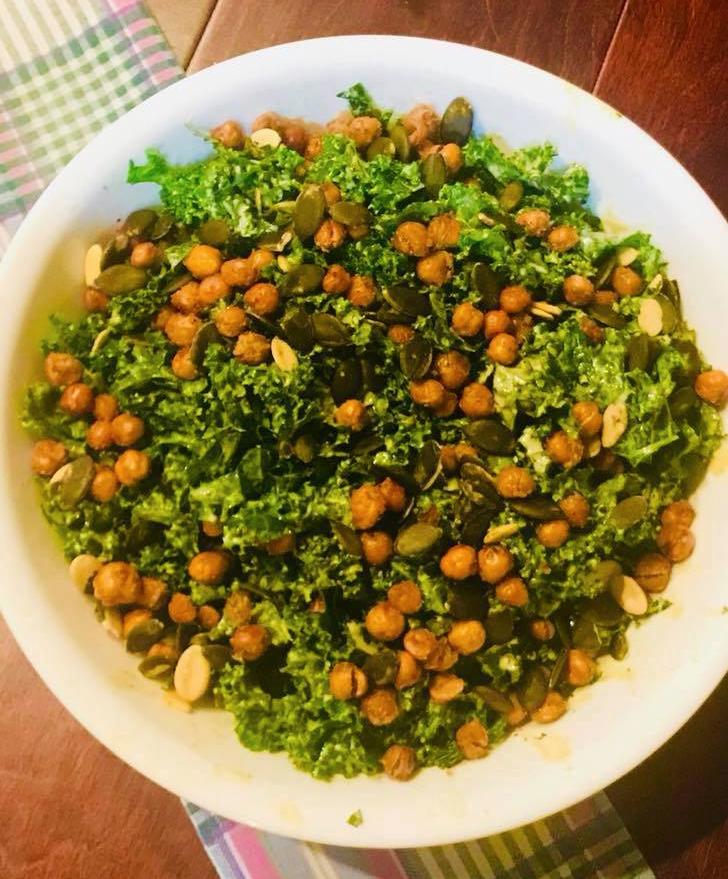 Kale Salad with Crispy Chickpeas - Thank you Ania Gardulski