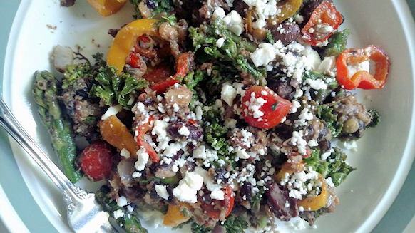 Stir fried veggies with black beans in very little Coconut oil and a sprinkle of feta cheese.jpg