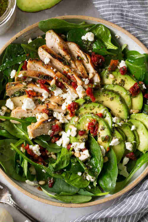 Grilled Chicken Sun Dried Tomato and Avocado Spinach Salad.jpg