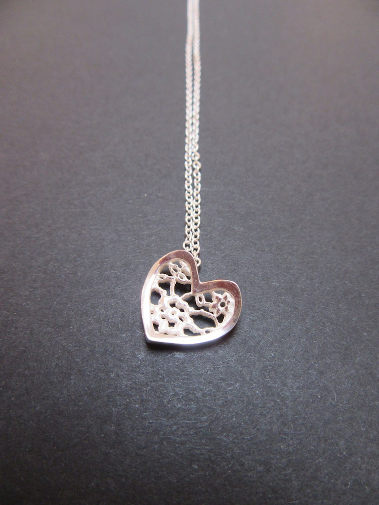 Silver Lace Heart Pendant