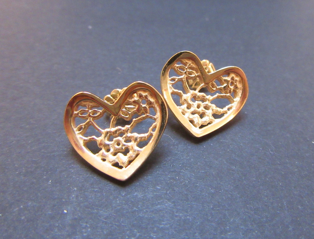 Gold Lace Heart Studs