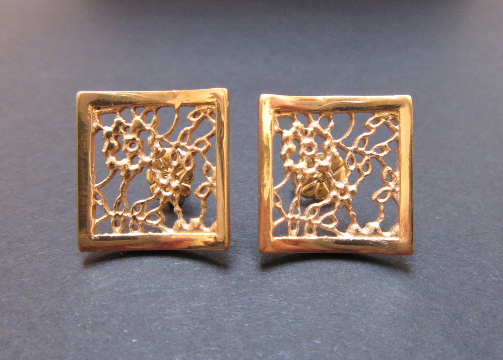 Gold Lace Square Studs