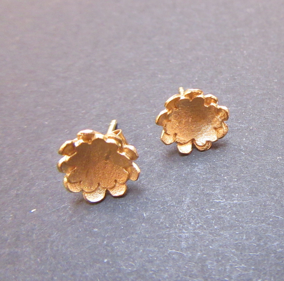Gold Double Briar Flower Studs