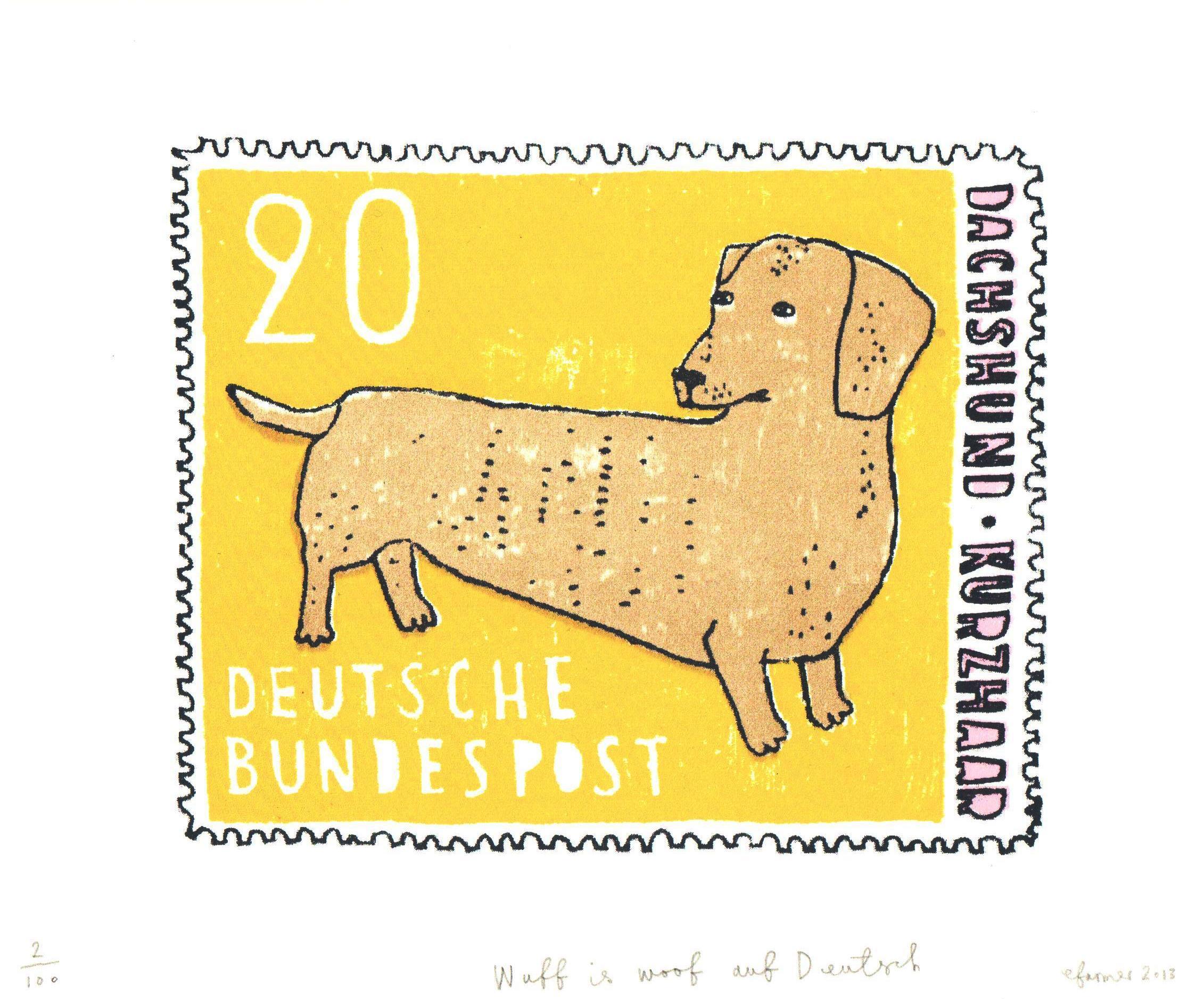 Wuff is Woof Auf Deutsch (mustard)
