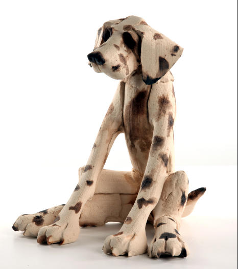 Large Seated Spotted Dog