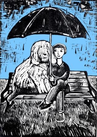 Ed Boxall | Spring Rain | Lino Cut