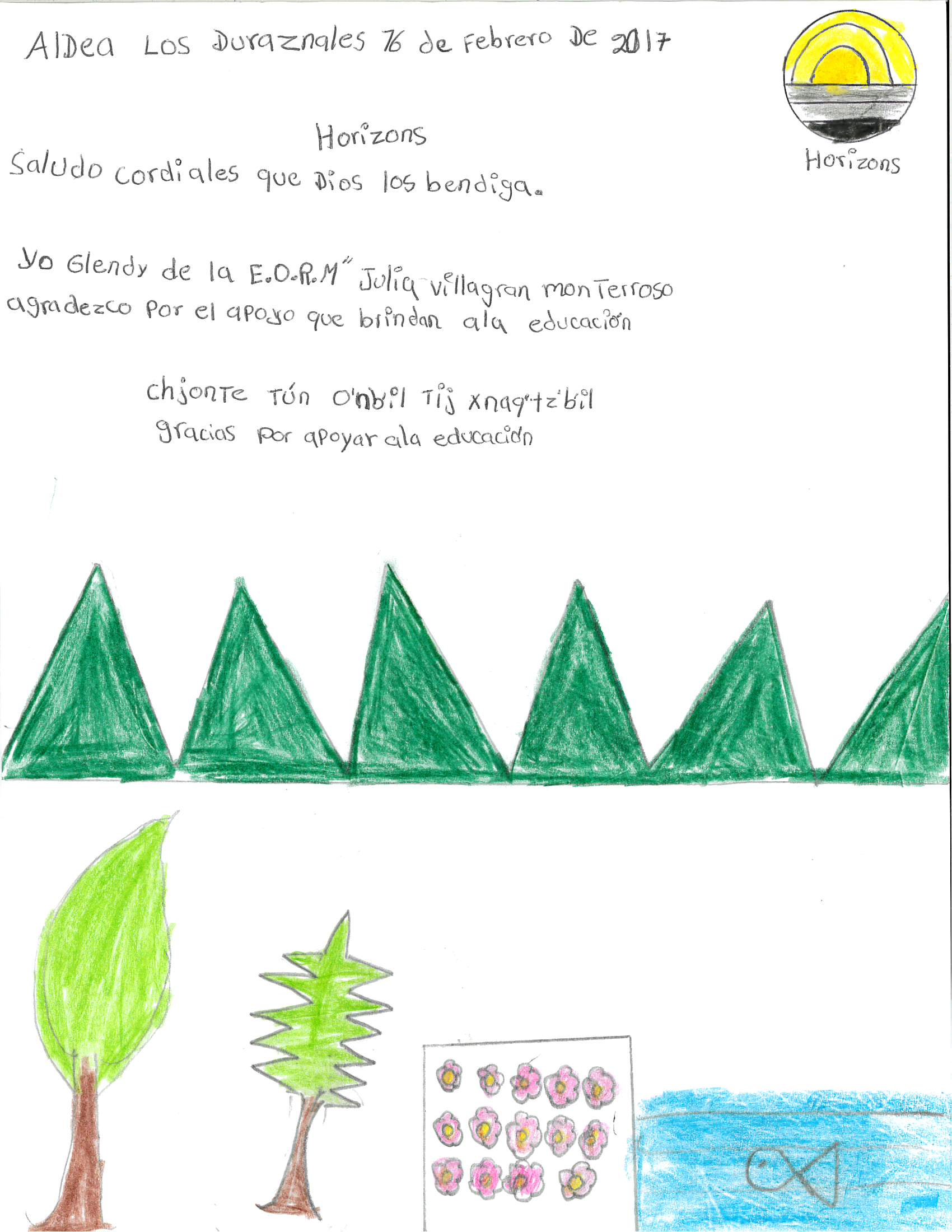 Glendy was one of 24 kids who said thank you to Horizons with a colourful drawing depicting village life.