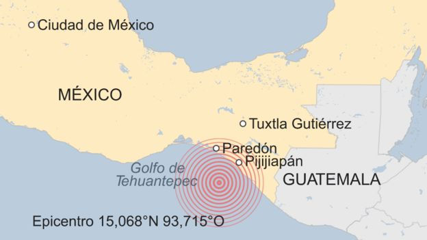 The epicentre of the 8.1-magnitude earthquake off the coast of Chiapas, Mexico. Credit: BBC