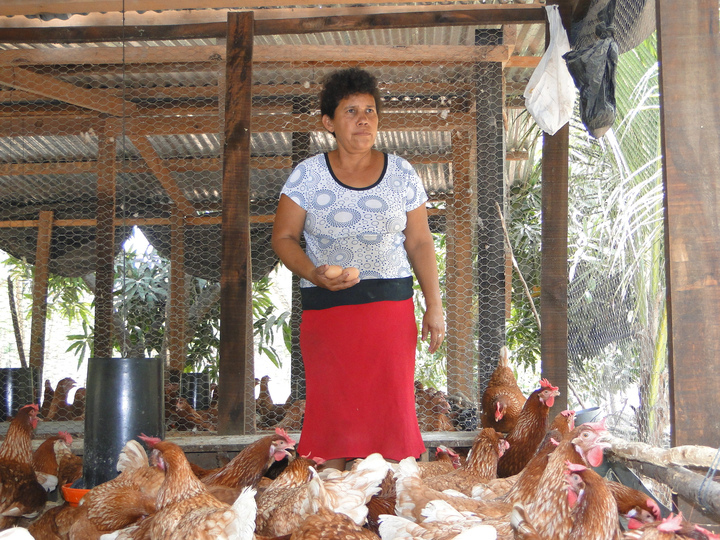 A women from Lower Lempa, El Salvador used her microcredit loan from ACUDESBAL to purchase chickens as a way to generate income for herself and her family.