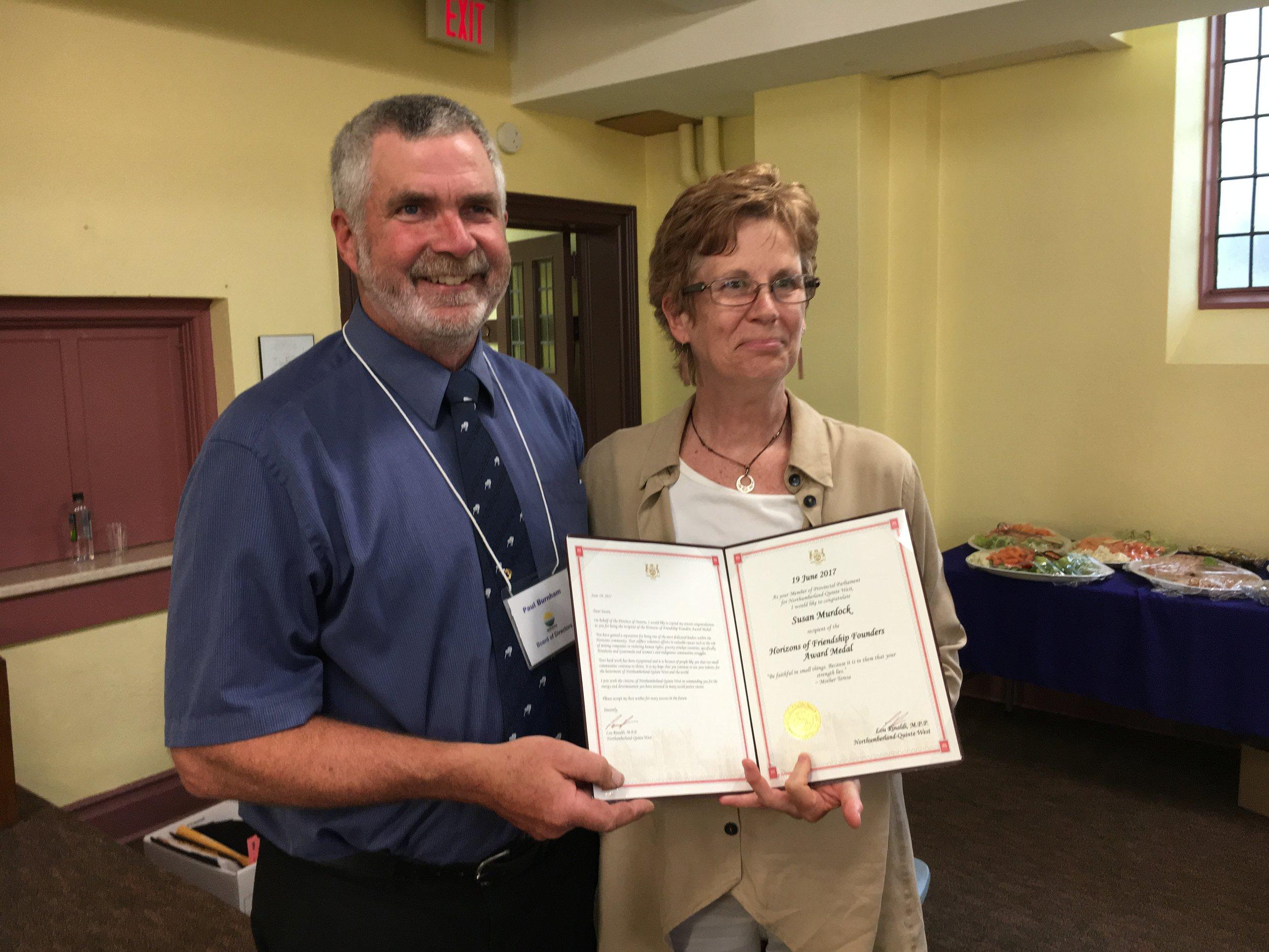Paul Burnham presented Susan Murdock the 2017 Founders Award at the 2017 Annual General Meeting.