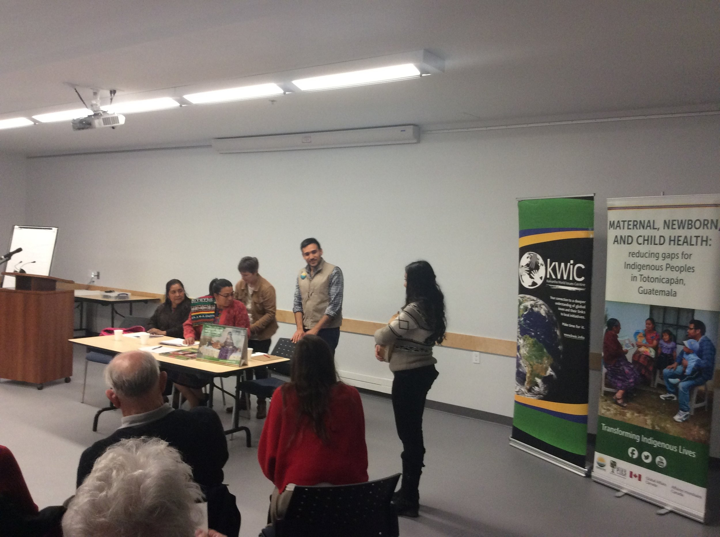 KWIC was also instrumental in involving two local Indigenous youth during the public event - with one helping MC the presentation and the other performing an opening hand drum song - as well as inviting Elder Shirley Williams to officially welcome Mirna and Irma to Michi Saagiig territory.