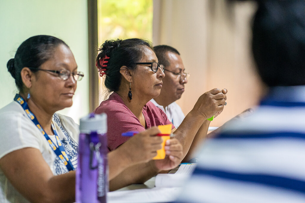 (From left to right) Doris Borst from the Association of Indigenous Women from the Nicaragua's Atlantic Coast (AMICA), Elides Rivera from Mano de Tigre, Costa Rica, and Gilbert Maroto from CEDIN Indigena, Costa Rica.