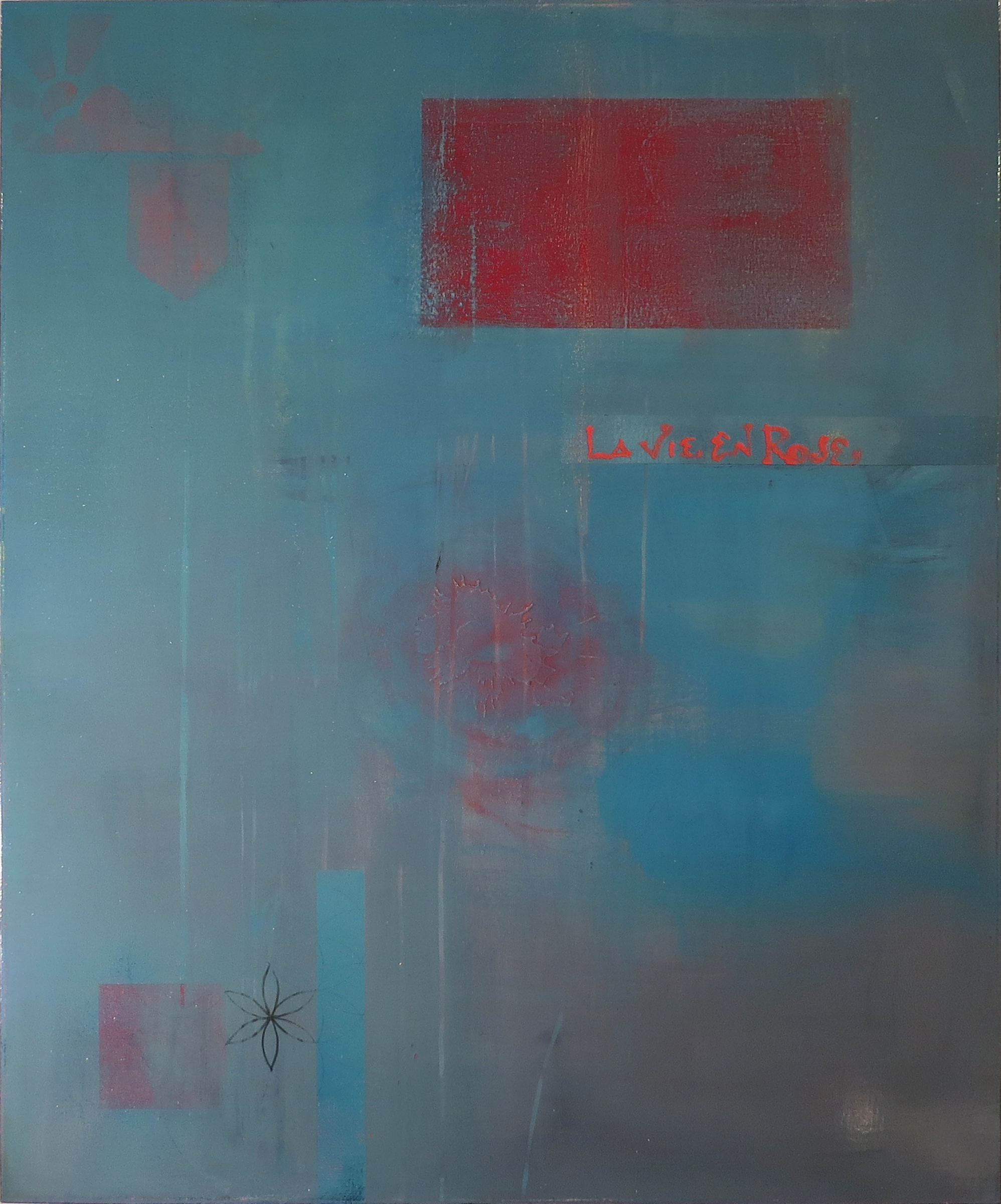 """LIFE IN BLUE   2014  Series: Piece Hill  Acrylic, Graphite, Wax, Varnish on Canvas  36x48""""  SOLD"""