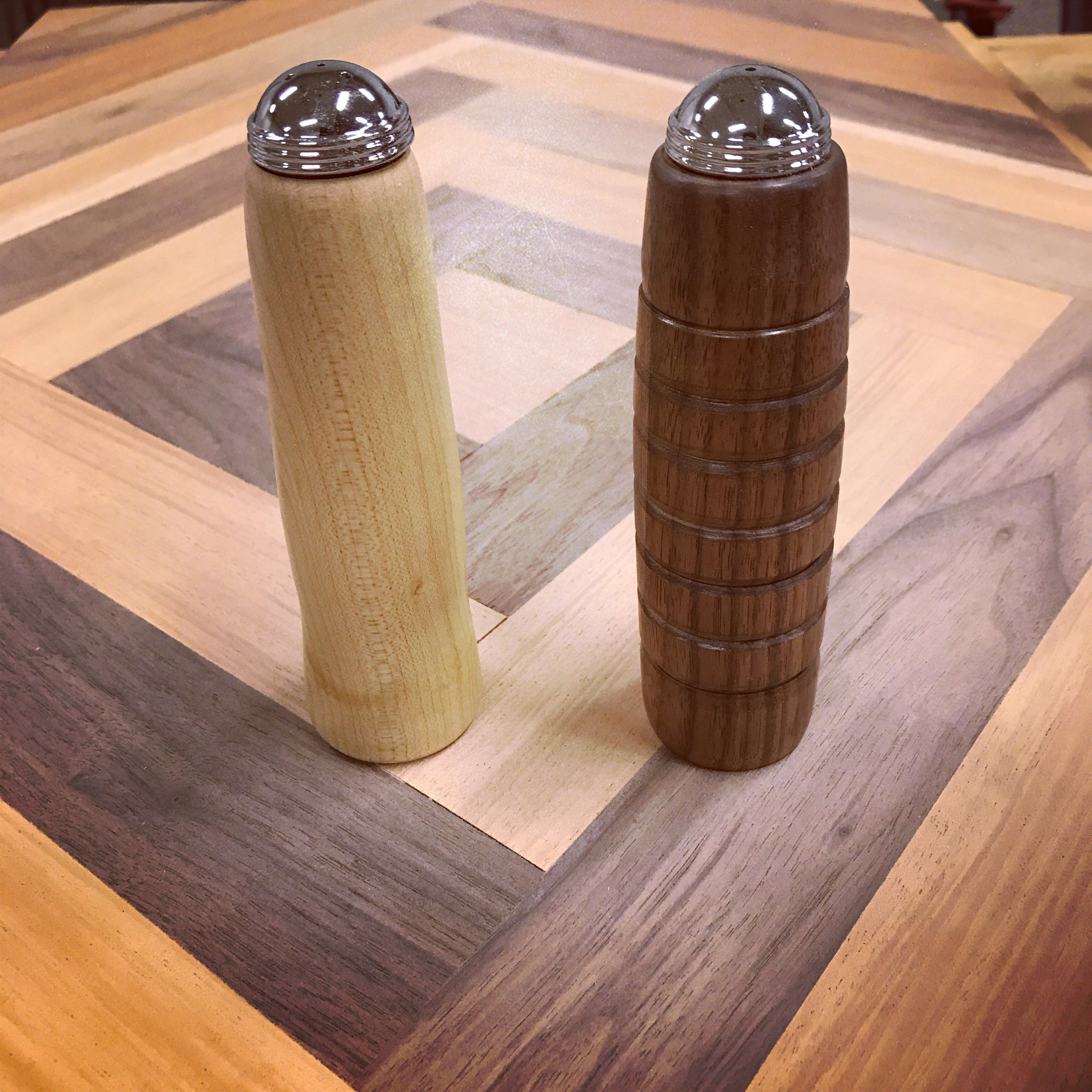 Wood Turned Salt and Pepper Shakers