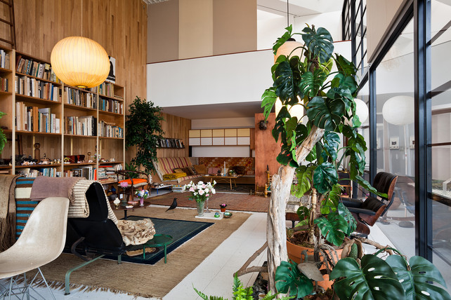 The interiors of the Eames house have remained largely untouched since Charles and Ray's death. Photo via  We Are Scout .