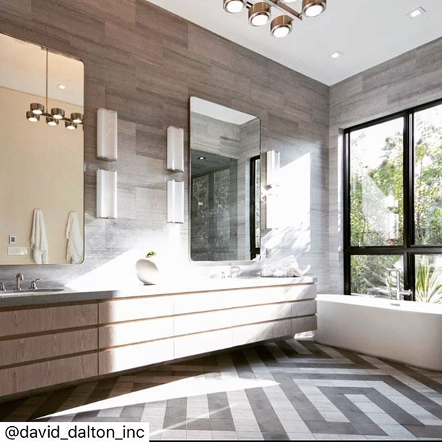 A little walk down memory lane courtesy of @david_dalton_inc 💗🏠📸 The master #bathroom of our recently sold Project on Rising Glen features a 14' long vanity and #labyrinth patterned stone floor. A flood of morning light makes it a perfect place to start the day. Architecture by @amespetersonintl Interior architecture by @david_dalton_inc  Stone flooring and walls by @winkdesignsource Sconces by @visualcomfortco Mirrors by @restoration.hardware All plumbing fixtures by @brizofaucet Chandelier by @arteriorshome #luxury #luxurylifestyle #luxuryrealestate #larealestate #dreamhome #dreamgouse #californiadreaming #designporn #designmatters #designerlife #milliondollarviews #milliondollarlisting #daviddaltoninc #daviddalton #risingglen #risingglenroad #bathroomdesign