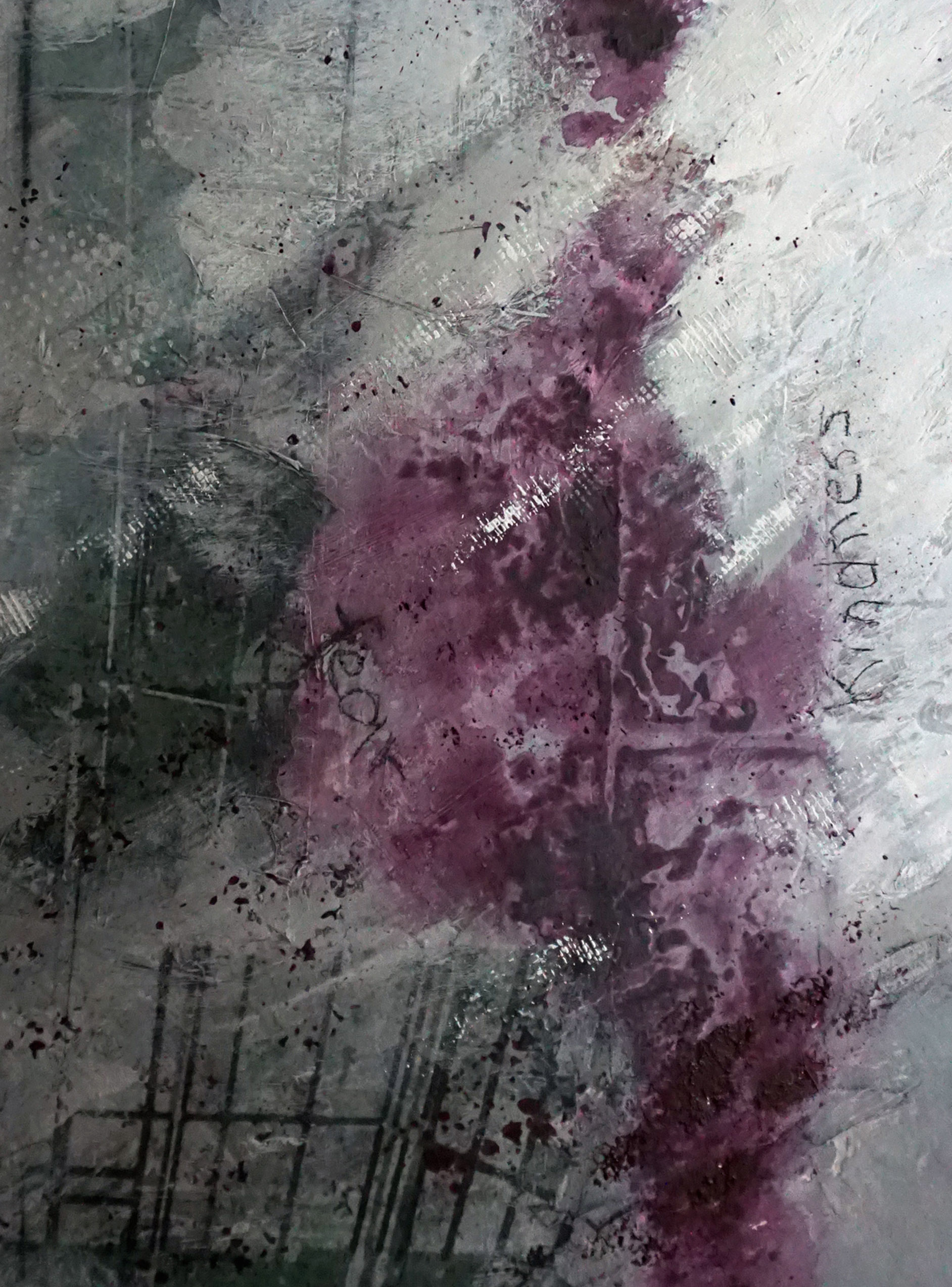 """Detail of """"Fight Song,"""" 36"""" x 24"""", mixed media on board"""