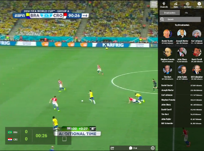 "Screen prototype for ""Broadcaster Selection"" feature."