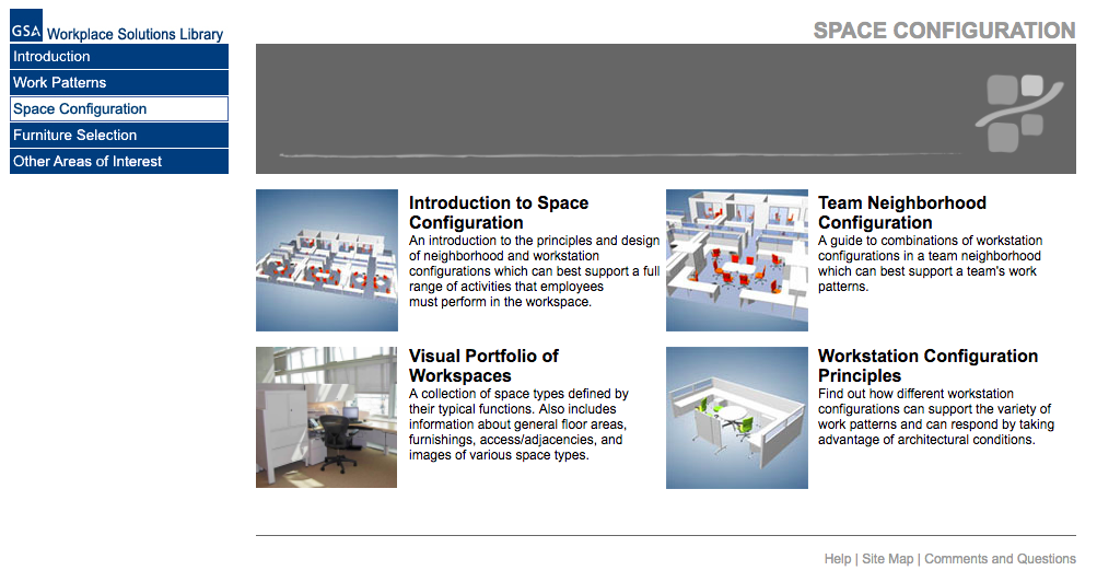 Space Configuration menu. Different sections provide guidance for arranging individual and team workspaces.