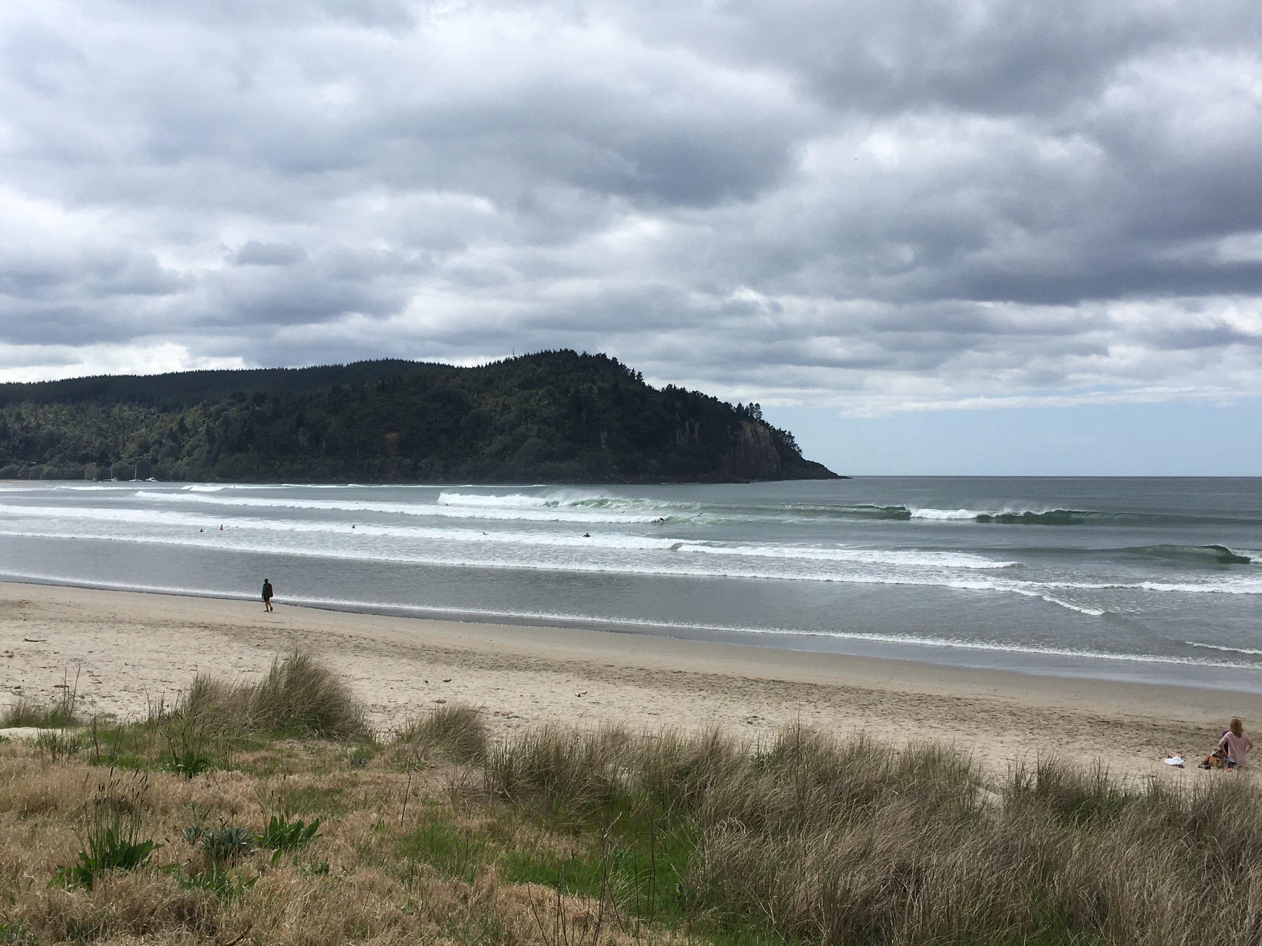 The surf at Whangamata Beach on Sunday