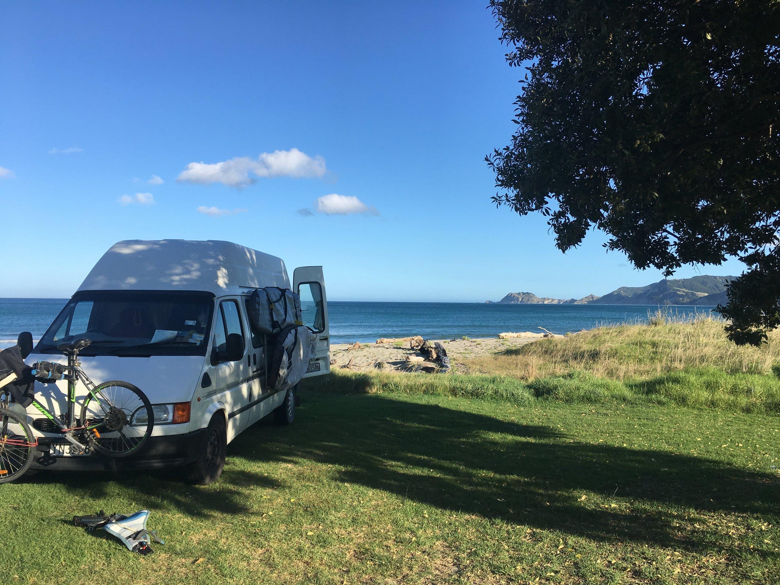 Beach front parking in Tokomaru Bay