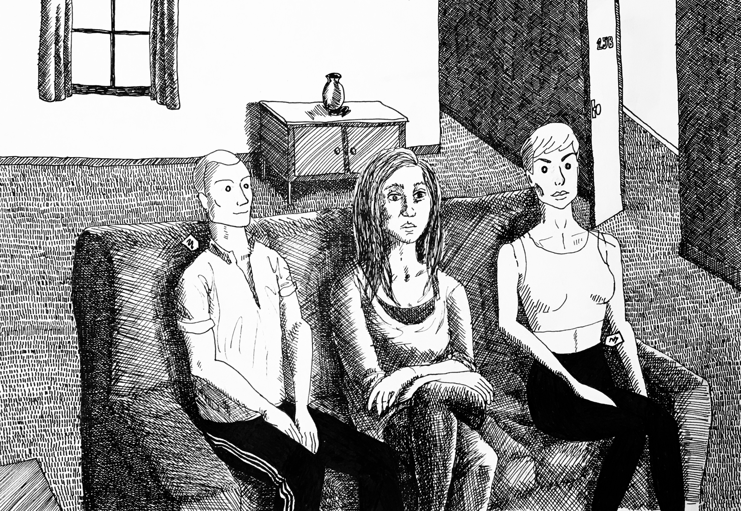 Our lead Charlotte with mannequins, in her apartment. Drawn by Producer Carol Brandt