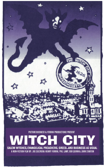 """Witch City - Salem Massachusetts exists as both a city and a metaphor. The Salem Witch trials of 1692 sent 20 people to their deaths. It also sent the phrase """"witch hunt"""" into the American lexicon. Witch City is a darkly humorous, multi-level exploration of Salem."""