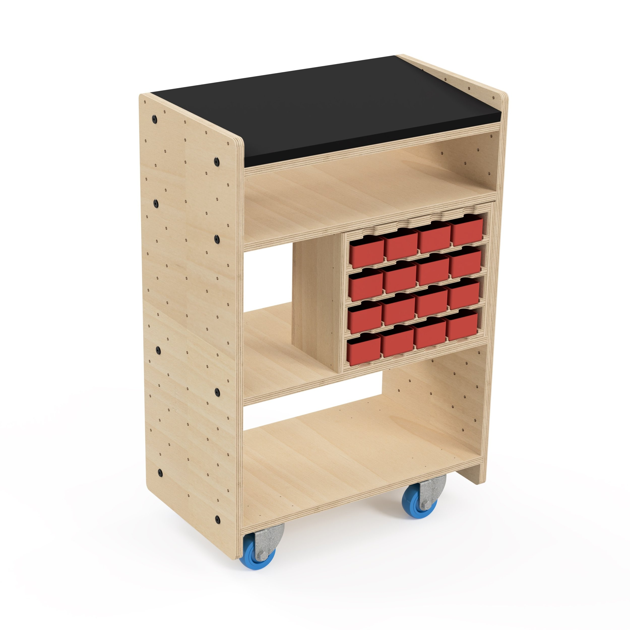 Cart + Caddy - Includes• Everything in CNC Cart above, plus:• Hardware Caddy• Hardware Bins (16)