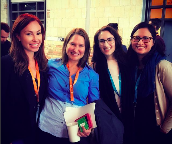 Jessica Higgins at Intrepreneurship Conference 2017 in Toronto,standing with members of NASA, where she was a keynote speaker on scaling influence inside your organization to create a culture of innovation.