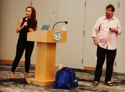 Jessica Higgins at the South Florida Interactive Marketing Association doing a talk on corporate culture as a powerful marketing tool, 2017.