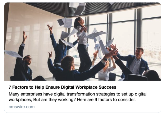 Jessica was a featured expert on digital workplace strategies for CMS Wire.