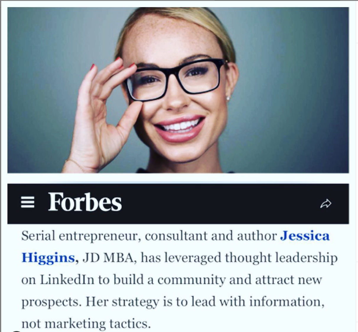 Jessica was profiled by Forbes for her thought leadership in marketing