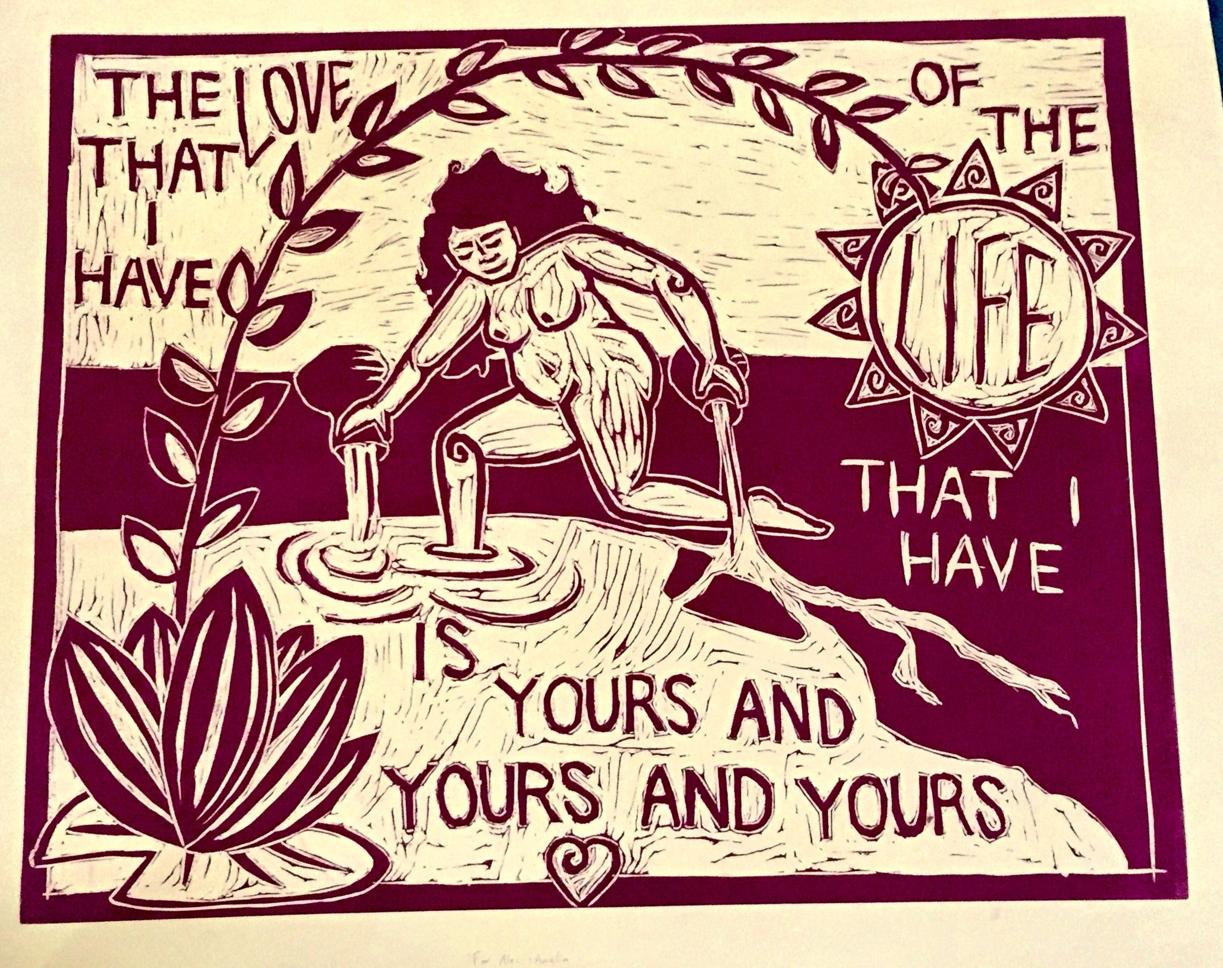 the love that I have - 2013, Linocut