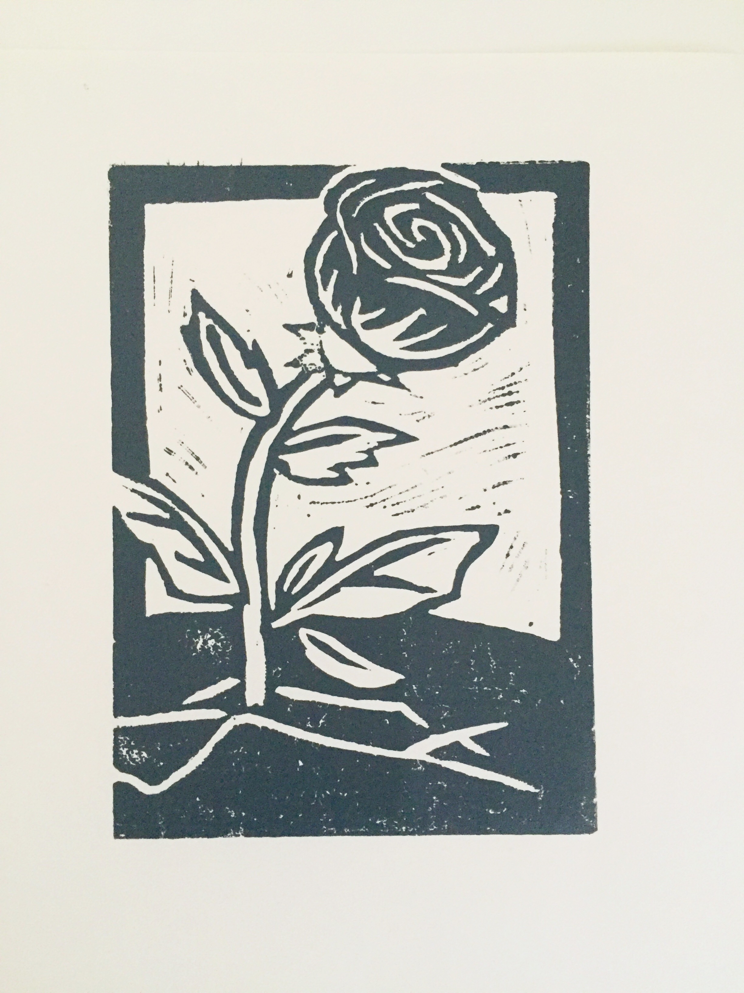 roses from concrete - 2017, Linocut