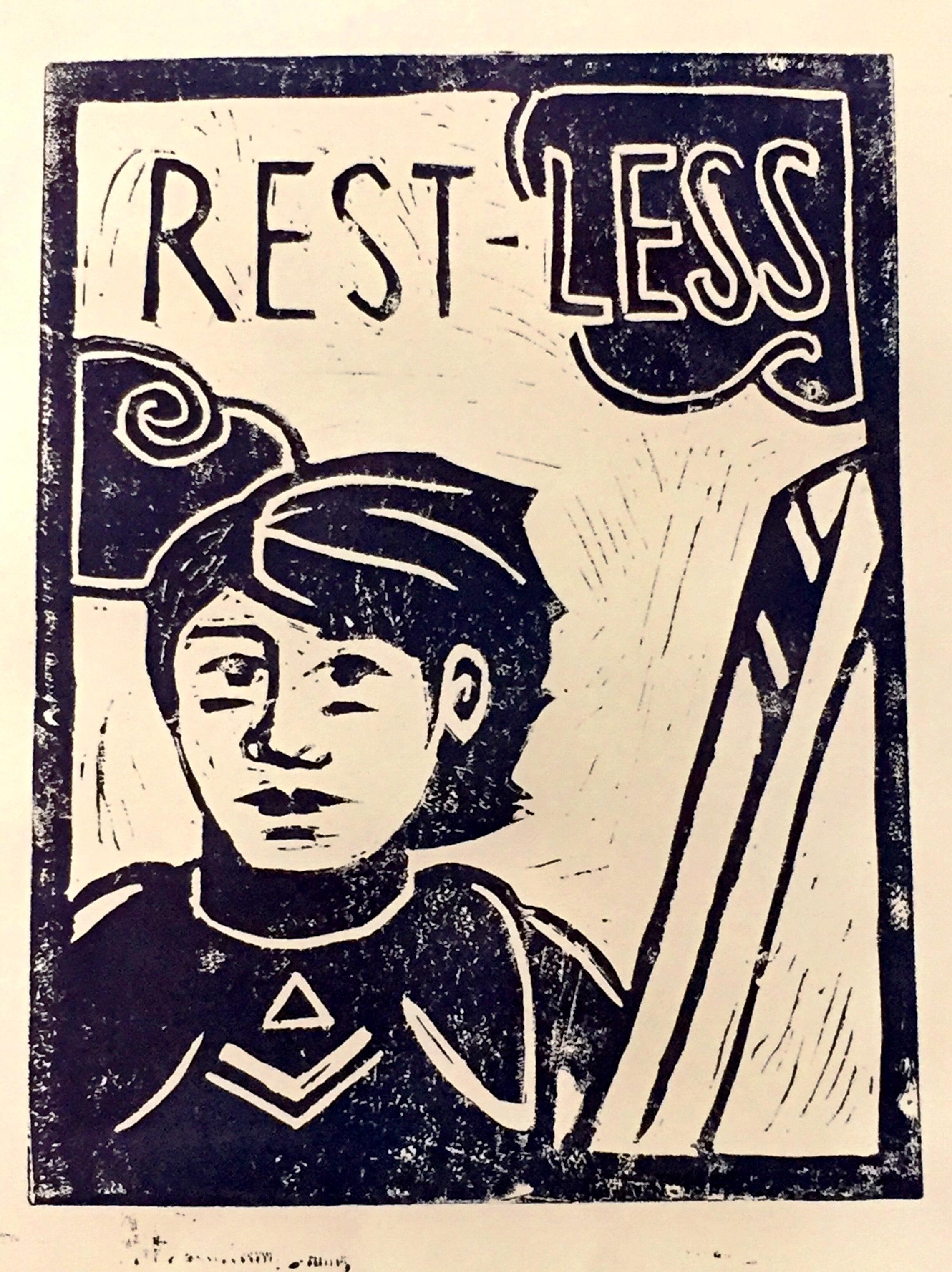 rest-less - 2017, Linocut