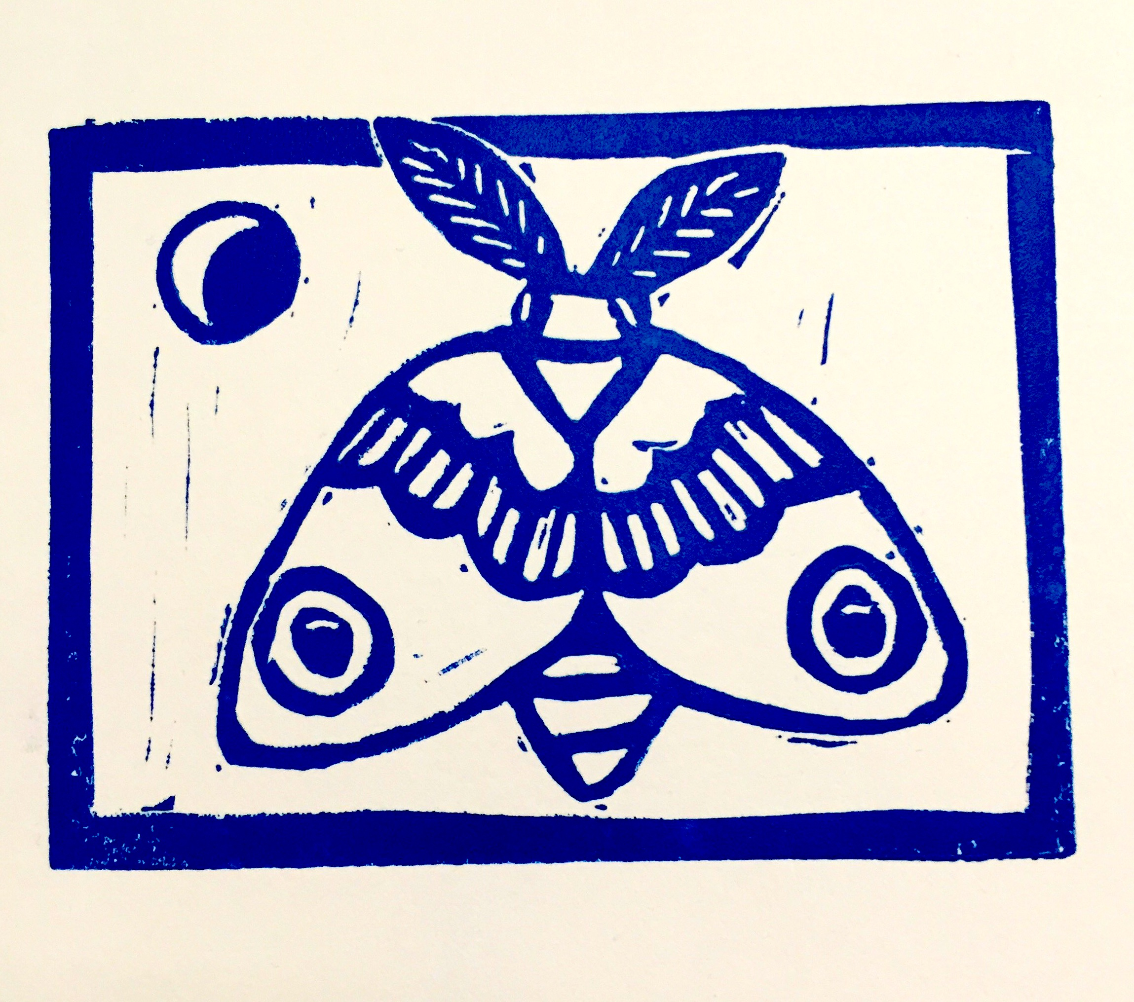 Night moth - 2018, Linocut