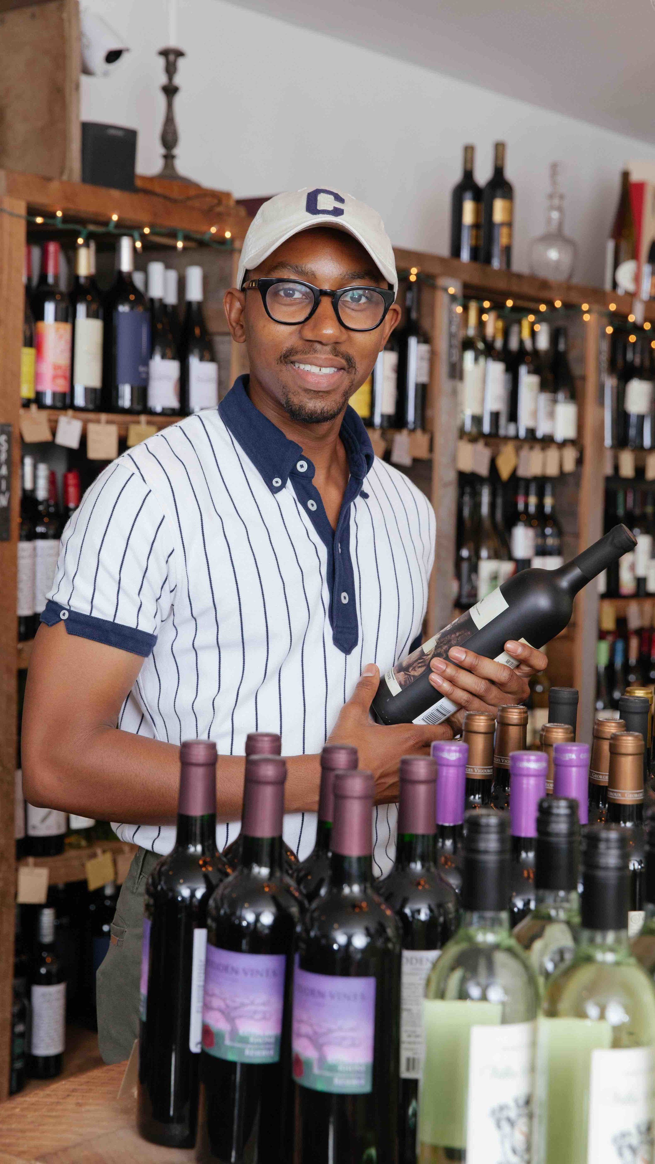 Striver, Former Host of the Are&Be Podcast on Spotify & Columbia Business School MBA Student Chad Foster  at  Pompette Wineshop  in Harlem