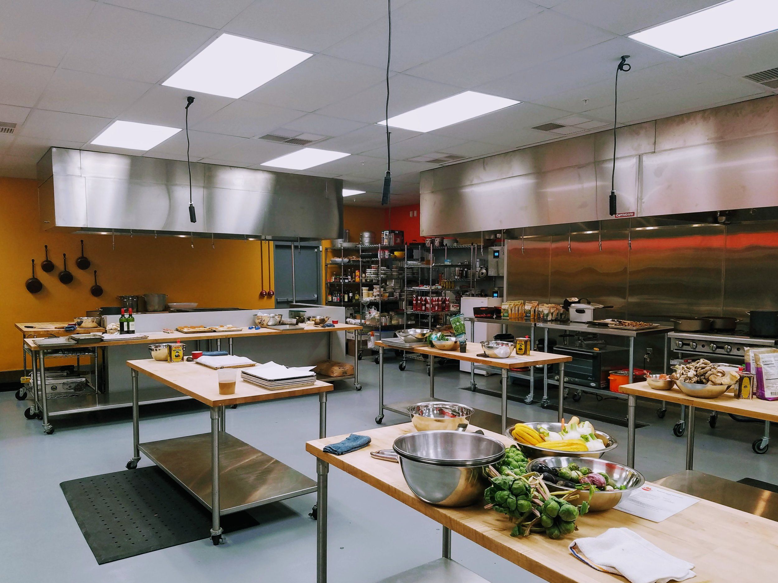 NEW : With expanded space and advanced equipment, our second kitchen can accommodate larger parties and specialty events.  Kitchen on Fire - Oakland  is located in the Golden Gate neighborhood of North Oakland.