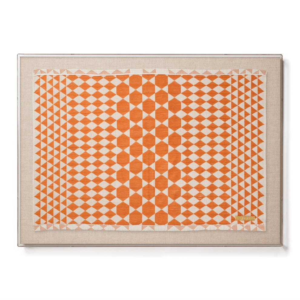 Dakar Orange Statement Framed Textile Made in Senegal