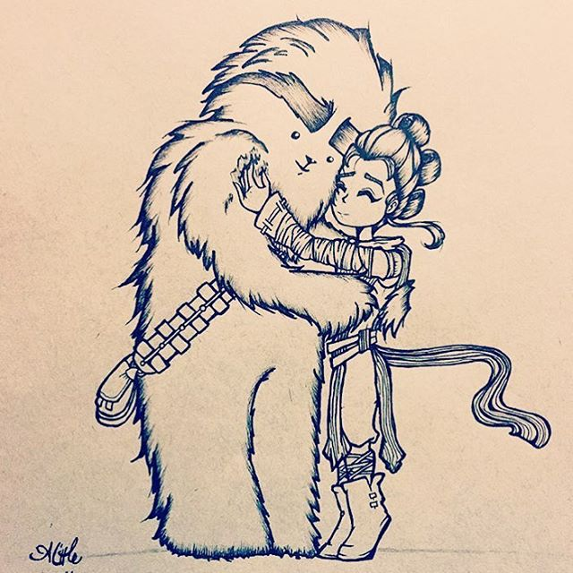 BESTIES!! ❤️ Chewie, Rey, and a big hug! . . . . . #starwars #forceawakens #episode7 #chewbacca #rey #starwarsart #cute #friends #hugs  #illustration #drawing #sketch #design #art #artist #artwork #illustrator #draw #drawing #sketching #instaart  #myart #artoftheday #dailyart #doodle #doodlesofinstagram #artistsoninstagram #copic #copicmarkers prismacolor #inkdrawing #lineart