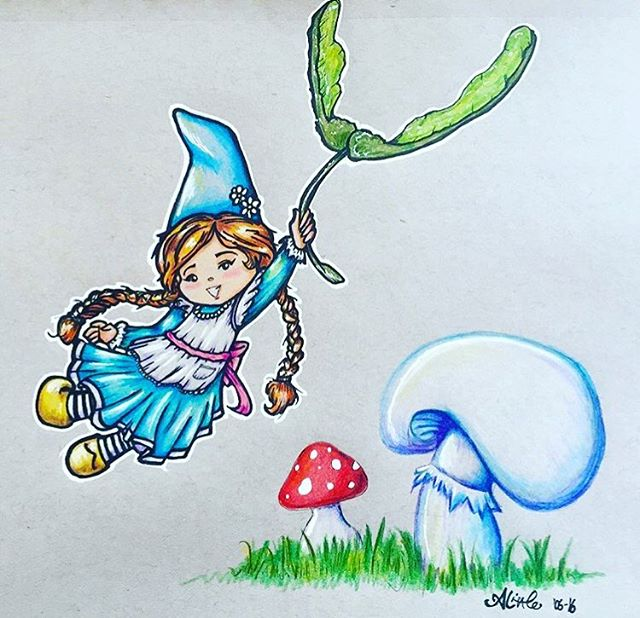 Weeeee!! . . . . . #gnome #toadstool #mushroom #maplekeys  #girl #cute  #illustration #drawing #sketch #design #art #artist #artwork #illustrator #draw #drawing #sketching #instaart  #myart #artoftheday #dailyart #doodle #doodlesofinstagram #artistsoninstagram #copic #copicmarkers #prismacolor #prismacolorpencil
